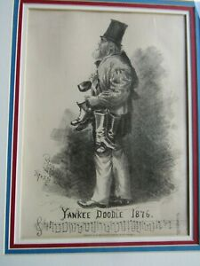 VINTAGE ORIGINAL 1876 YANKEE DOODLE STONE LITHOGRAPH BY EDWARD HARRISON $185.00