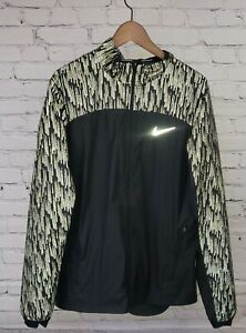 Nike Running Reflective Waterproof Jacket Mens Large Black Full Zip Long Sleeve $40.00