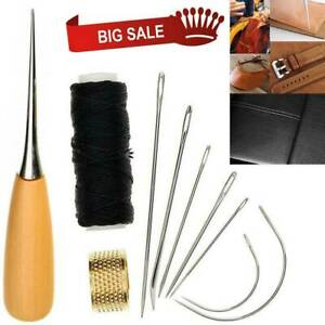 Leather Sewing Needles Kit Stitching Needle Thread Thimble Shoes Repair Tool Hot $9.16