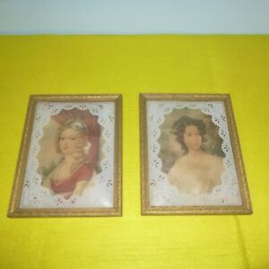 VINTAGE ANTIQUE VICTORIAN WOMEN TWO FRAMED ART PRINTS 9quot; X 7quot; VERY NICE $30.00