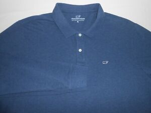 Vineyard Vines Mens Designer Long Sleeve Dark Blue Polo Shirt X Large