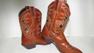 Code West Leather Boots Brown Sewn Design Made In US Womens Size 7.5M $50.00