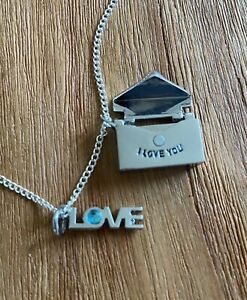 I Love You Necklace amp; Pendants silver tone 20 inch length