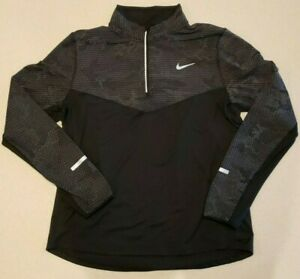 Nike Running Dri Fit Reflective Jacket Mens Large Thumbholes 1 4 zip Pullover $34.99