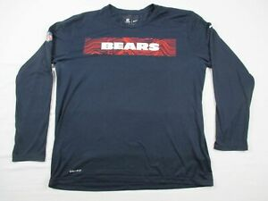 Chicago Bears Nike Tee Short Sleeve Shirt Men#x27;s Navy Dri Fit Used XL