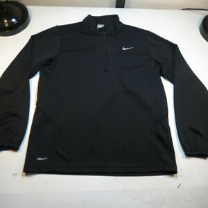 NIKE FIT DRY 1 4 ZIP ATHLETIC PULLOVER SWEATSHIRT Sz Mens M Black $24.99