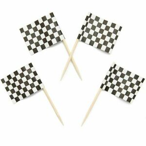 200x Racing Checkered Flag 1 x 1.3 in. Toothpick for Party Appetizer Food Pick