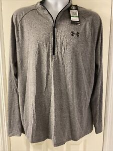 NWT Under Armour Mens 1 2 Zip Long Sleeve Grey Heather Shirt Size Large $23.99