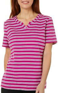 Coral Bay Womens Striped Split Neck Short Sleeve Shirt $6.75