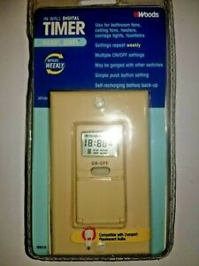 Woods Digital In Wall Timer 59018 7 Day $12.99