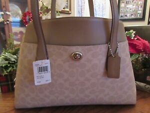 New Coach 89576 Chalk Sand Taupe Carryall Lora Signature Tote Satchel Purse $395
