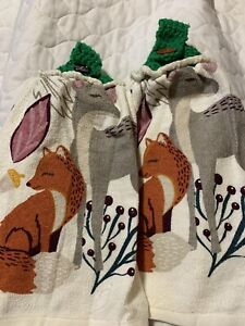 Fox Deer Double Thick Crochet Top Hanging Kitchen Dish Towel By Laura