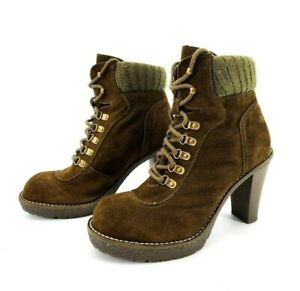 Envy Hello Women#x27;s Heeled Ankle Boots Round Toe Suede Lace Up Brown Size 8.5