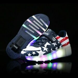 New Children Roller Skate Shoes Girls LED Sneakers With Wheel Girl Casual Shoe $21.90