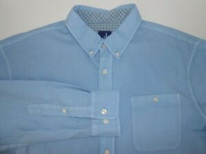 Johnnie O Mens Designer Long Sleeve Blue Linen Silk Blend Casual Shirt Large
