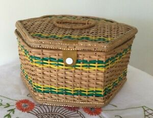 Antique Vintage Large Sewing Basket Box Wooden Woven Wicker Rattan Cane Blue AU $99.00