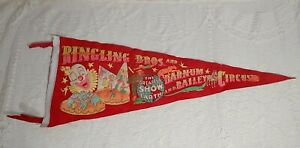 Vintage Ringling Brothers Barnum Bailey Circus Felt Pennant Colorful Clown Ape $59.99