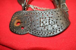 California Type Cowboy spurs 1880 1890 with original leathers 3 689