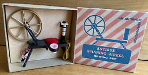 Authentic Reproduction ANTIQUE SPINNING WHEEL Sewing Set ThimbleThreadPin Cush $25.00