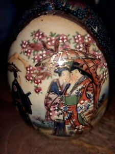 Two Hand Painted Asian Royal Satsuma Eggs