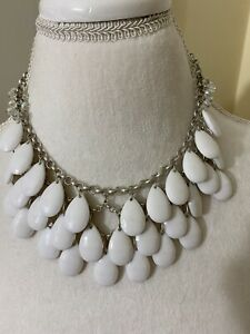 White Teardrop Bead Triple Strand Necklace Silver Accents Spring Summer $13.50