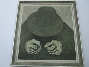 LARGE ART HANSEN PAINTING ABSTRACT EXPRESSIONISM MAN W HAT 1960#x27;S MODERNISM RARE $1950.00