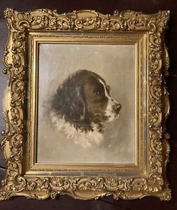ANTIQUE OIL PAINTING NEWFOUNDLAND DOG BEAUTIFUL SIGNED $400.00