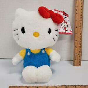 NEW 8 Inch HELLO KITTY Soft Plush Sitting w Blue Overalls Red Bow Sanrio Mattel