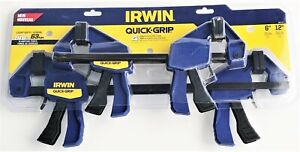 4pc Irwin 6 AND 12 Quick Grip Mini One Handed Ratcheting Bar Clamps Set 140LB $35.99