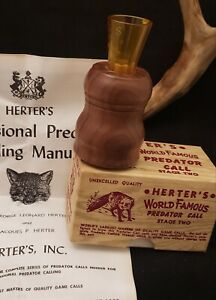 VINTAGE HERTERS World Famous Predator call in retail box with Instructions