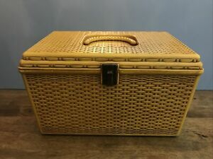 VINTAGE 60s WIL HOLD Wilson Mfg PA Sewing Box Basket Weave With Tray Shelf USA $45.00
