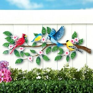 Colorful Birds Branch Tree Metal Outdoor Indoor Wall Art Fence Porch Sculpture $36.95
