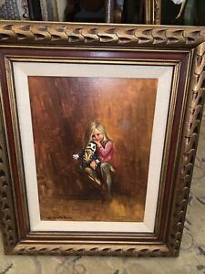 Vintage antique Signed S. Castellano Oil On Canvas Girl And Doll $195.00