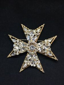 VINTAGE SIGNED WEISS MALTESE CROSS PIN BROOCH PENDANT RHINESTONE ESTATE LARGE 3quot; $95.00