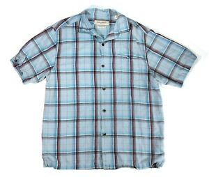 Tommy Bahama Mens M Short Sleeve Button Up 100% Silk Casual Shirt Plaid Blue $14.97