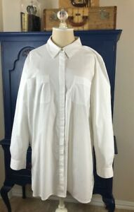 EILEEN FISHER Womens Button Down Shirt Organic Cotton White Size Large EUC $32.95