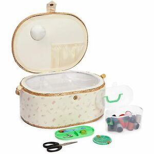 Vintage Sewing Basket Organizer Box Kit with Hand Sewing Supplies Oval Shaped $25.99