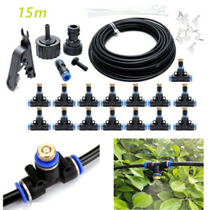 50FT 15MM Outdoor Misting Cooling System Garden Water Mister Nozzles Set