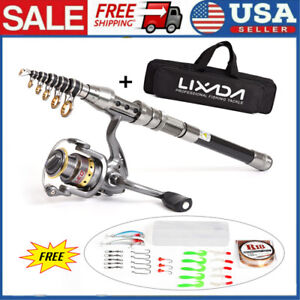 💥Telescopic Fishing Rod Spinning Pole Reel Combo Full Kit With 100M Line amp; Bag
