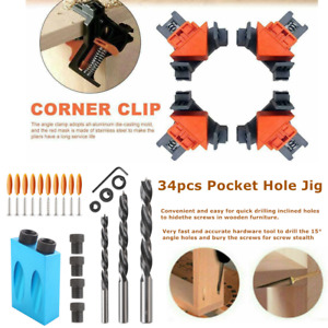 4X 90 Degree Right Angle Clamp Holder 34X Pocket Hole Screw Jig Kit Woodworking $24.99