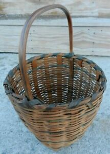 Nice Small Antique Basket with Handle amp; Colored Strips $45.00