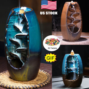 50 Cones Ceramic Backflow Waterfall Incense Burner Home Decoration Aromatherapy $11.59