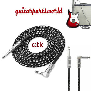 Right Angle Guitar Bass Instrument Cord Cable Black Tweed 1 4quot; 6.35mm 3 10 20ft $12.59