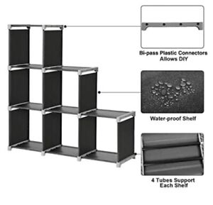 SONGMICS 6 Cube DIY Storage Rack Staircase Organizer Black $15.60