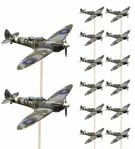 Spitfire Aircraft Army Military Food Cupcake Picks Toppers Party Decoration...