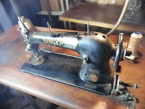 Antique Singer AG330592 Commercial Industrial Sewing Machine W Cast Iron Stand $262.46