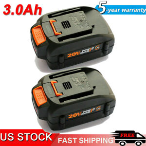 2 PACK 20 Volt For WORX WA3525 20V Max Lithium 3.0Ah Battery Power Tools WA3520