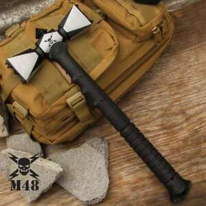 M48 Double Headed Viking Battle War Hammer Survival Hunting Tactical Axe Knife $75.99