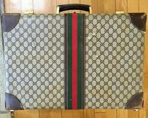 Rare Vintage Gucci GG Monogram Hard Side Luggage with Leather Trim $425.25