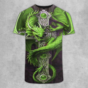 Super RARE Green Dragon On Celtic Cross 3D T Shirt Sport Shirt For Men S 3XL US $21.95